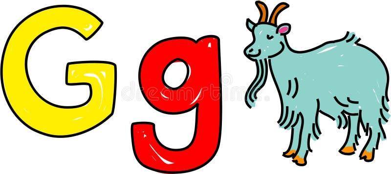 G está para la cabra ilustración del vector