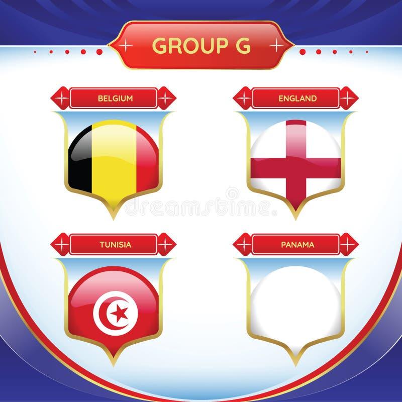G för fotboll- eller fotbollflaggagrupp vektor illustrationer