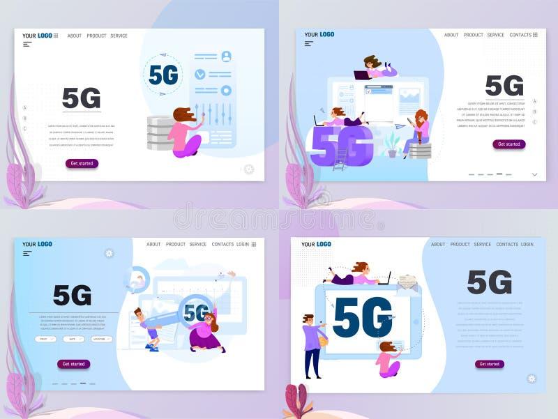 5G förband begreppsuppsättningen med tecken som landar sidamallen, plan stil royaltyfri illustrationer