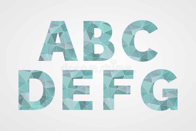 G F E b C d poligonalni geometryczni listy abc odosobnione ikony Abstrakcjonistyczni trójboka abecadła symbole dla teksta, chrzci royalty ilustracja