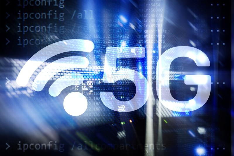 5G Fast Wireless internet connection Communication Mobile Technology concept royalty free stock photography