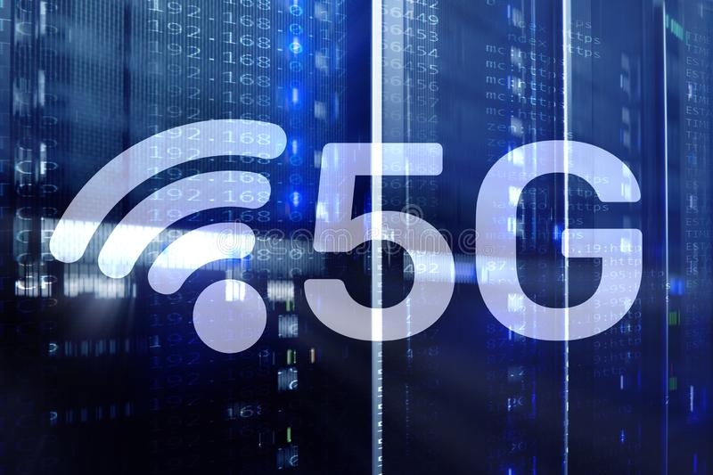 5G Fast Wireless internet connection Communication Mobile Technology concept.  royalty free stock photos