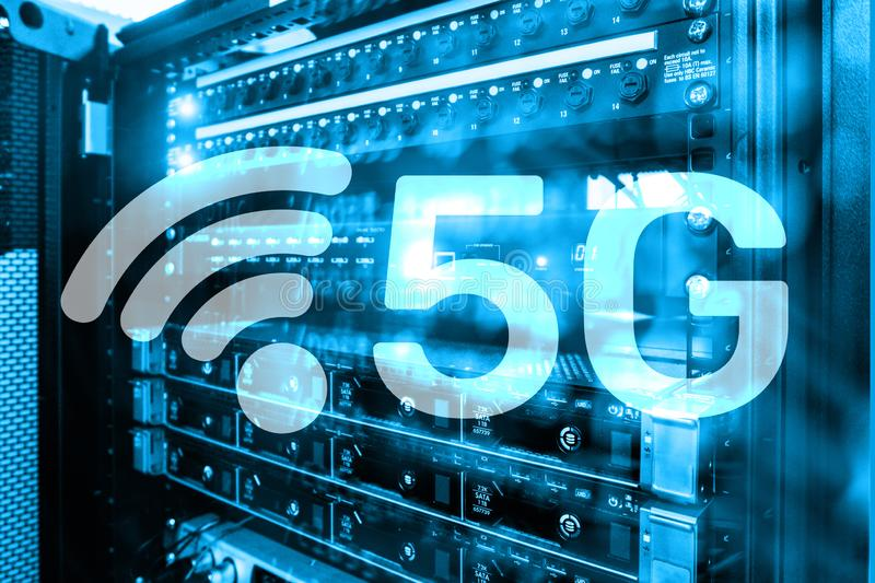 5G Fast Wireless internet connection Communication Mobile Technology concept. Future Communications Technology stock photos