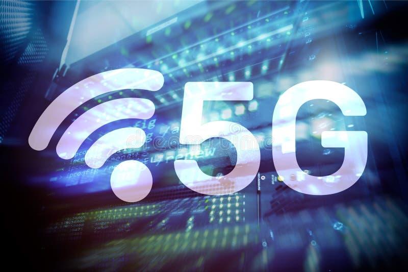 5G fastar begreppet för teknologi för den trådlösa internetuppkopplingkommunikationen det mobila arkivfoton