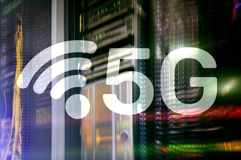 5G fastar begreppet för teknologi för den trådlösa internetuppkopplingkommunikationen det mobila vektor illustrationer