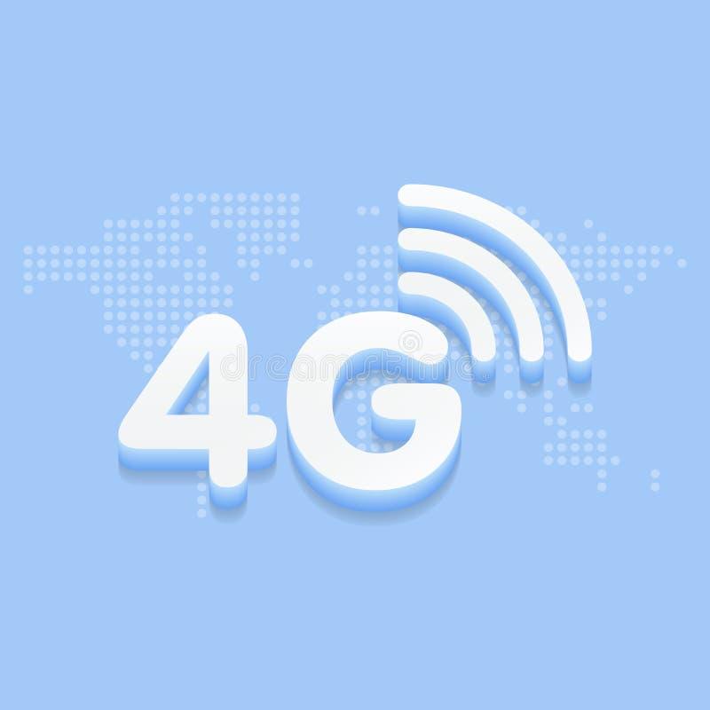 4G fastar internet 3d undertecknar in blå bakgrund och den prickiga världskartaillustrationen vektor illustrationer