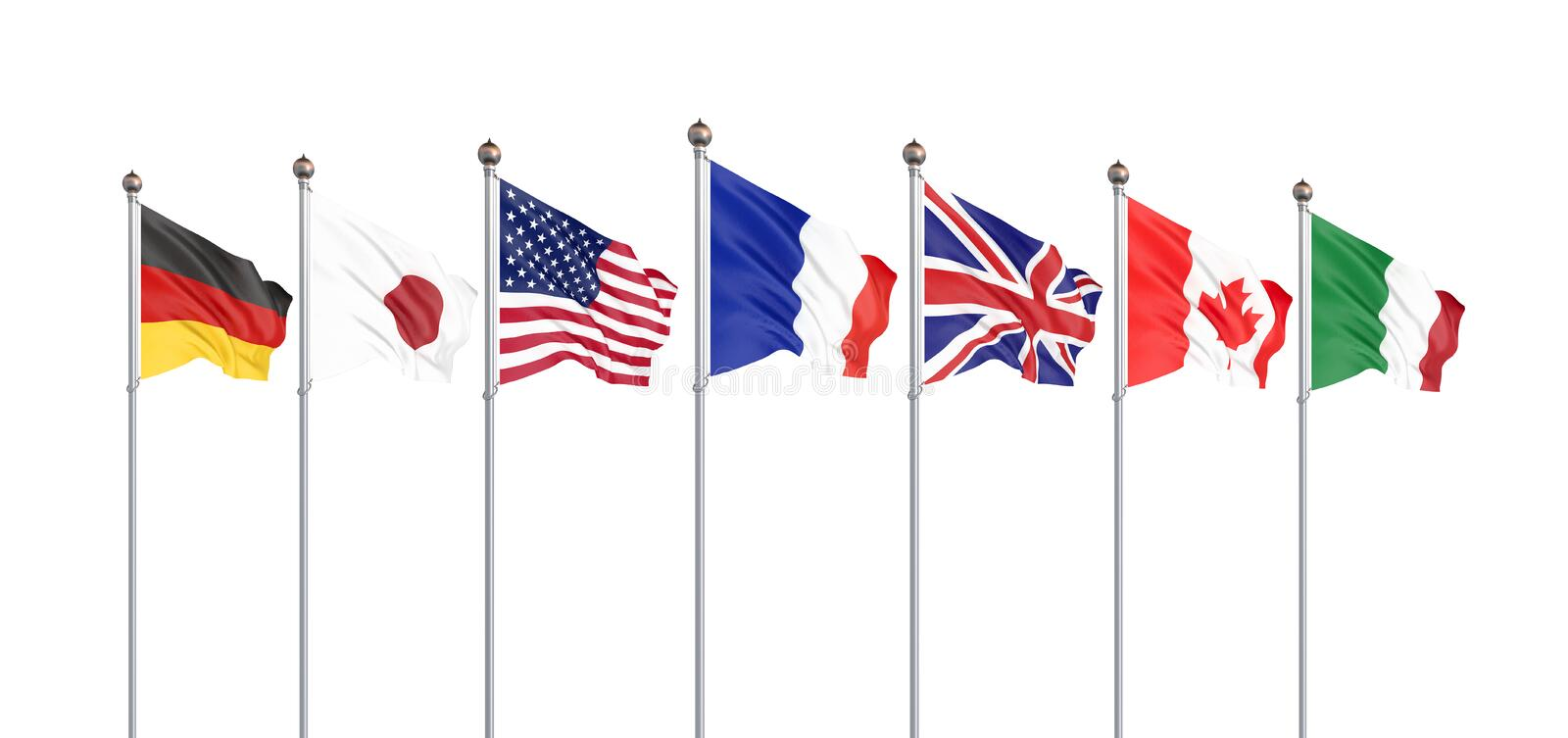 G7 flags Silk waving flags of countries of Group of Seven Canada Germany Italy France Japan USA states United Kingdom 2019. Big stock illustration