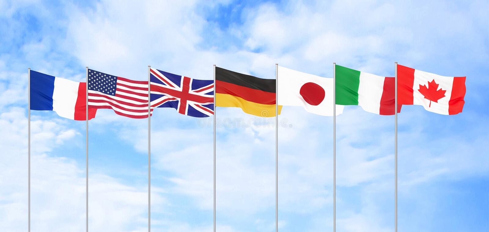 G7 flags Silk waving flags of countries of Group of Seven Canada Germany Italy France Japan USA states United Kingdom 2019. stock illustration