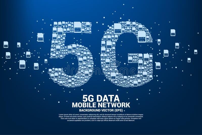 5G från mobilt knyta kontakt för simkort stock illustrationer
