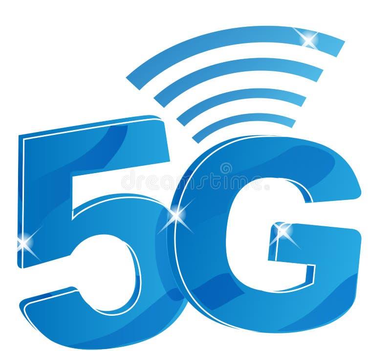 5G互联网传染媒介商标 5 G流动网或无线高速连接的被隔绝的象 库存例证