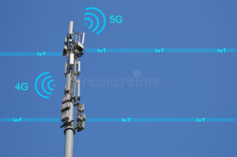 4G and 5G cellular networks - mobile network future technology concept with IoT connectivity. Current 4G telecommunications networks and future 5G technologies stock image