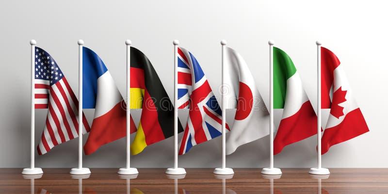 G7-G8 flags on white background. 3d illustration vector illustration