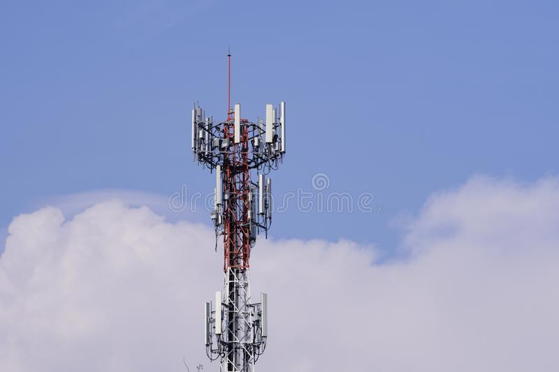 Telecommunication tower. Wireless Communication Antenna Transmitter. 3G, 4G and 5G cellular. Base Station or Base Transceiver Station. Telecommunication tower royalty free stock images