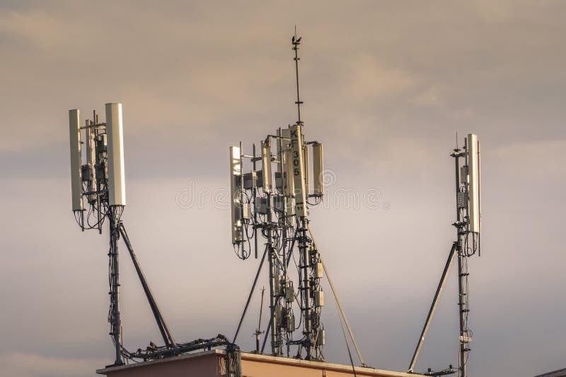 Telecommunication tower. Wireless Communication Antenna Transmitter. 3G, 4G and 5G cellular. Base Station or Base Transceiver Station. Telecommunication tower stock image