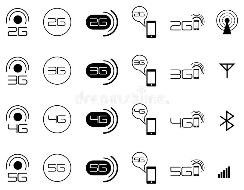 2G 3G 4G mobile network icons. Collection of vector illustration of 2G, 3G and 4G mobile network standard icons royalty free illustration