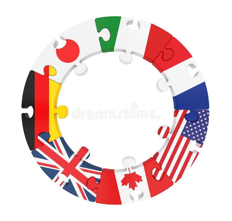 G7 Geïsoleerd de Cirkelraadsel van Landen royalty-vrije illustratie