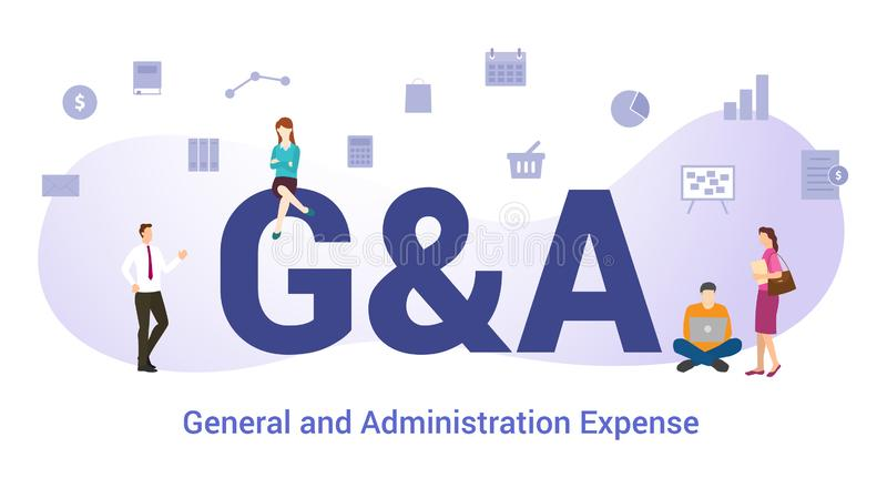 G&a general and administration expense concept with big word or text and team people with modern flat style - vector stock illustration
