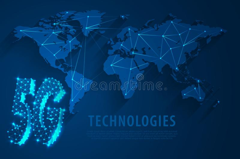 5G Global network technology with world map blue background, vector royalty free illustration