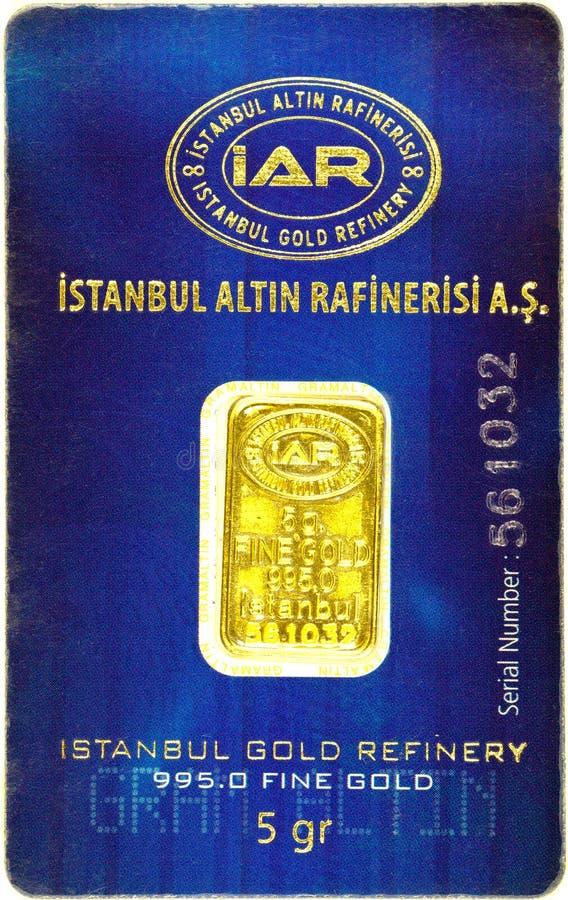 5g gold bar in blister pack stock photo