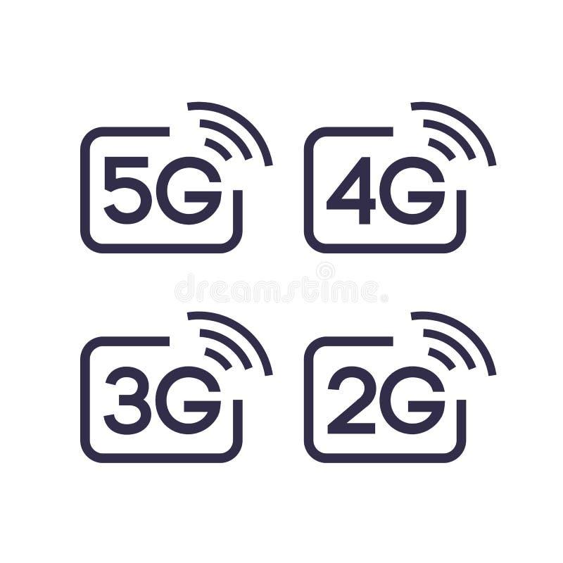 5G, 4G, 3G, grupo de símbolo do vetor 2G ilustração do vetor