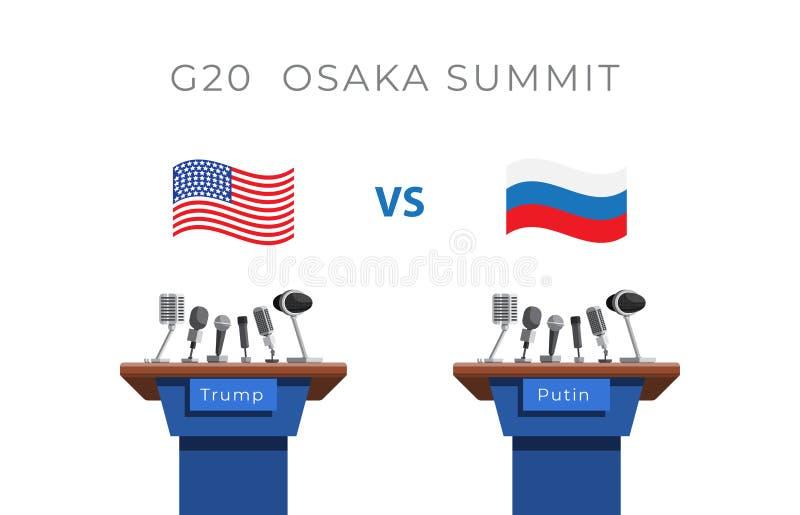 G20, grupo de vinte, conceito da reunião entre Putin e trunfo ilustração do vetor
