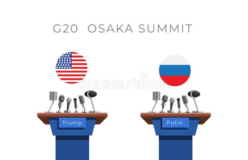 G20, grupo de vinte, conceito da reunião entre Putin e trunfo ilustração stock