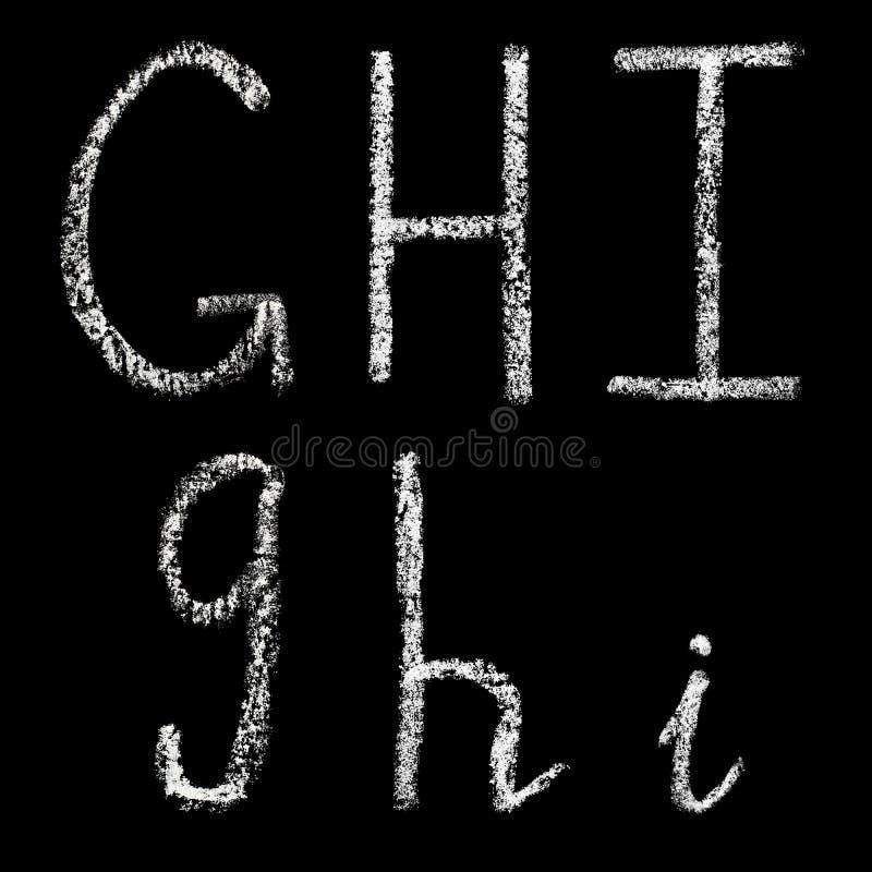 G, h, lettere bianche scritte a mano del gesso dei isolate su fondo nero illustrazione vettoriale