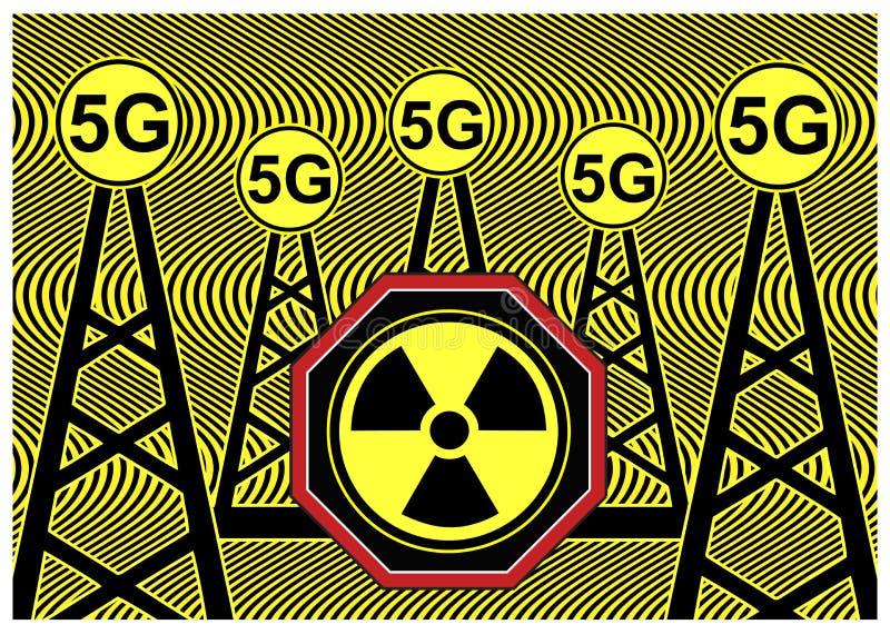 5G het risico van de stralingsgezondheid vector illustratie