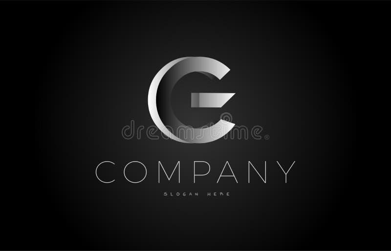 G het zwarte witte zilveren 3d alfabet van het het ontwerppictogram van het brievenembleem vector illustratie