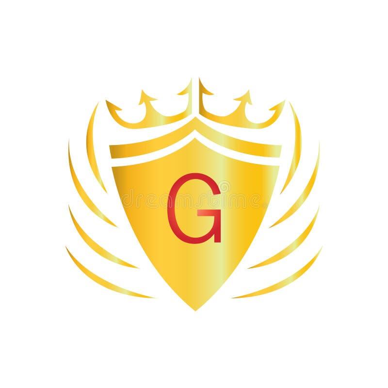 Королевский логотип кроны Логотип g письма иллюстрация вектора