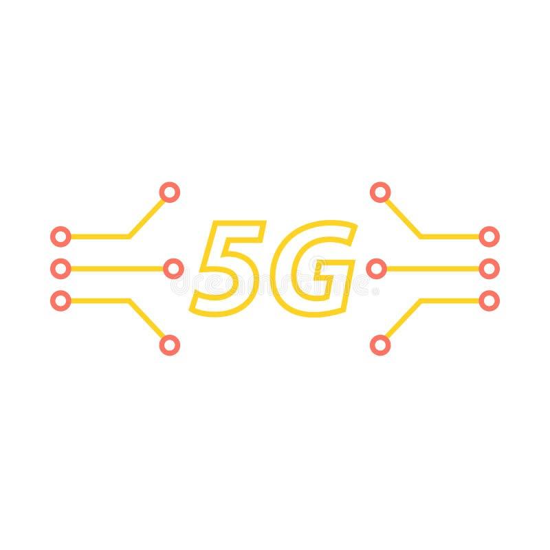 5G i kontakty płyta główna na białym tle ilustracji