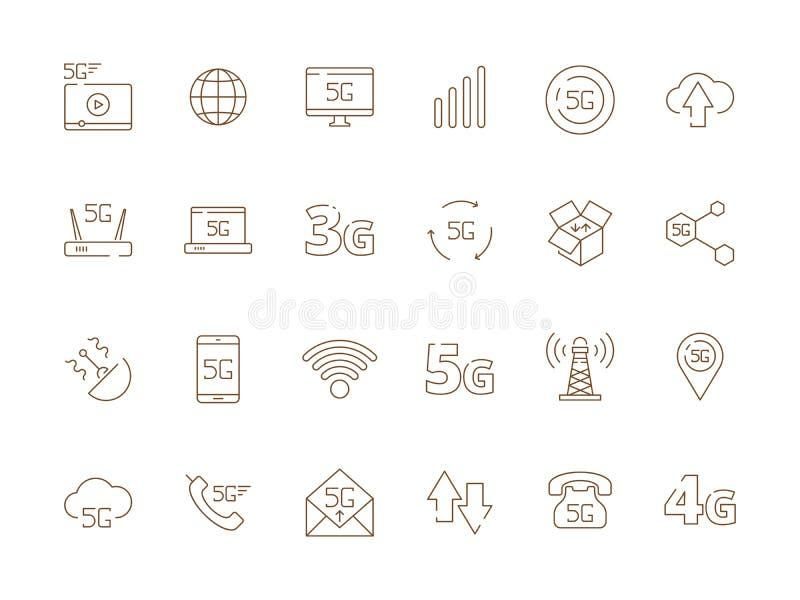 5g icons. Internet mobile safety wireless 4g signal telecommunication new technology free wifi vector symbols royalty free illustration