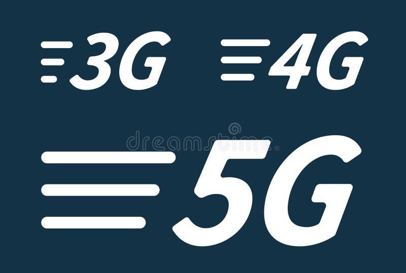 5G 4G 3G ikony wektorowych pokoleń interneta sieci mobilny bezprzewodowy związek ilustracji