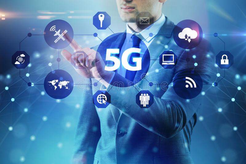 The 5g internet concept with businessman pressing buttons royalty free stock images