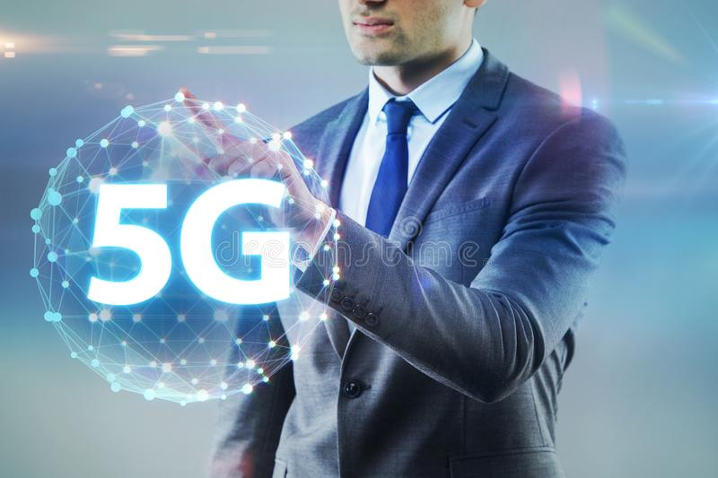 The 5g internet concept with businessman pressing buttons royalty free stock image