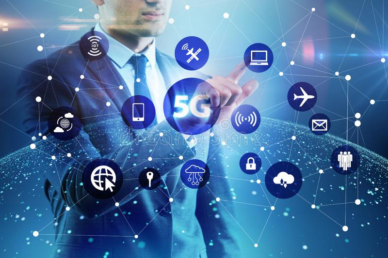 The 5g internet concept with businessman pressing buttons royalty free stock photos