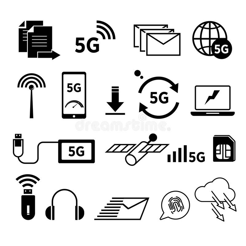 5G internet isolated icons, fast web surfing, world network. World network, 5G internet isolated icons vector. Sharing files and connection signal, messaging and royalty free illustration