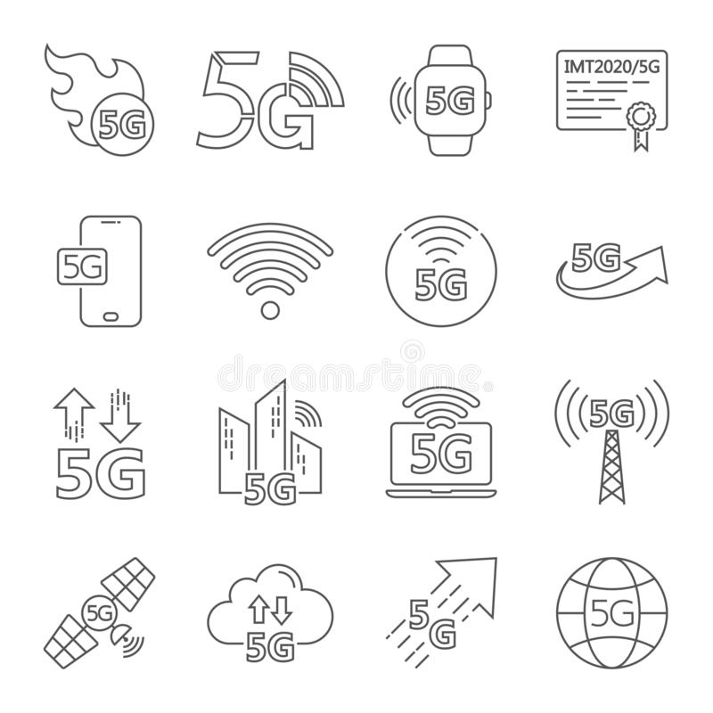 5G internet line icons set. Included icons as IOT, internet of things, bandwidth, signal, devices and more. Editable stock illustration