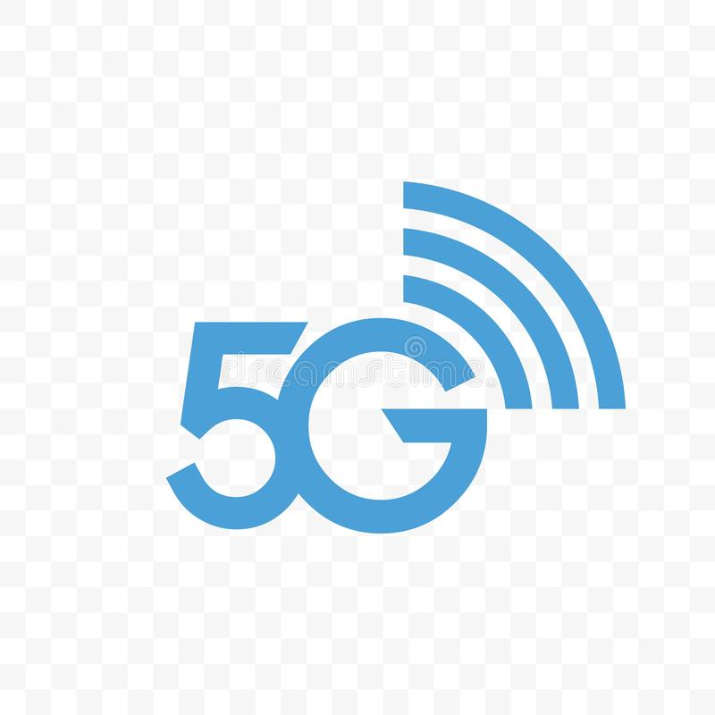 5G internet network vector logo icon. 5G internet network vector logo. Isolated icon for 5 G mobile net or wireless high speed connection and data transmission stock illustration