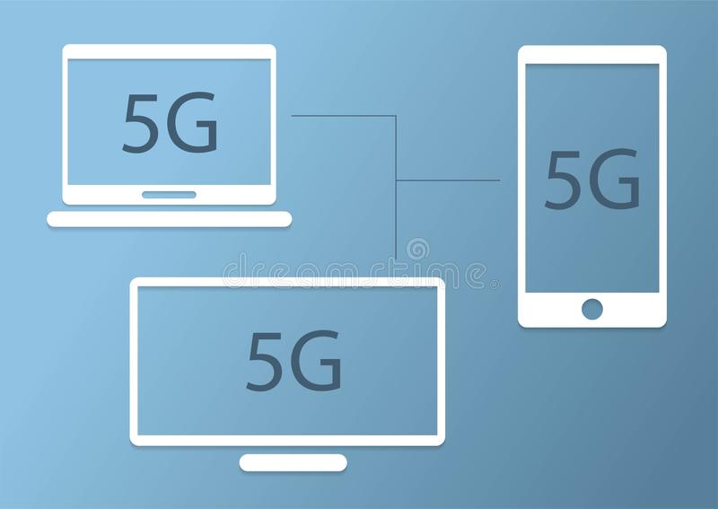5G interneta komunikacja łączy smartphone, komputerowego notatnika i TV, 5G logo płaski projekt ilustracja wektor