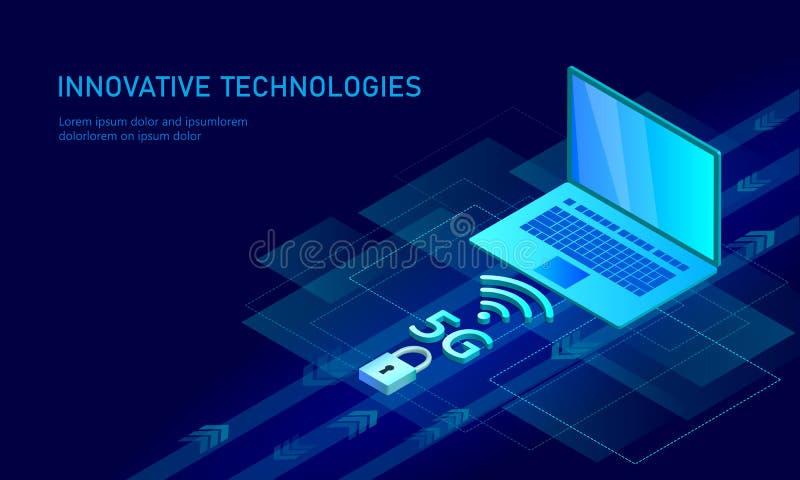 5G interneta wifi nowy bezprzewodowy związek Laptopu urządzenia przenośnego błękita 3d isometric mieszkanie Globalnej sieci wysok ilustracja wektor
