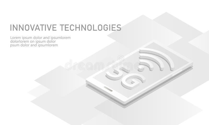 5G interneta wifi nowy bezprzewodowy związek Smartphone urządzenia przenośnego bielu 3d isometric mieszkanie Globalnej sieci wyso royalty ilustracja