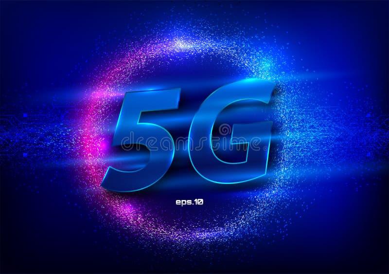 5G interneta wifi nowy bezprzewodowy zwi?zek Du?e dane binarnego kodu sp?ywowe liczby Globalnej sieci prędkości wysokiej innowacj ilustracja wektor