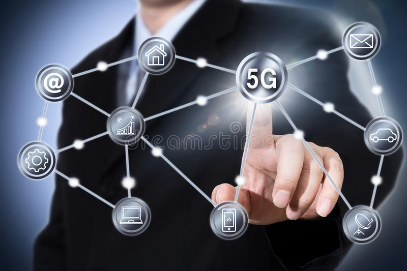 5G iot integration mobile telecommunication business IT web networking concept. royalty free stock photo