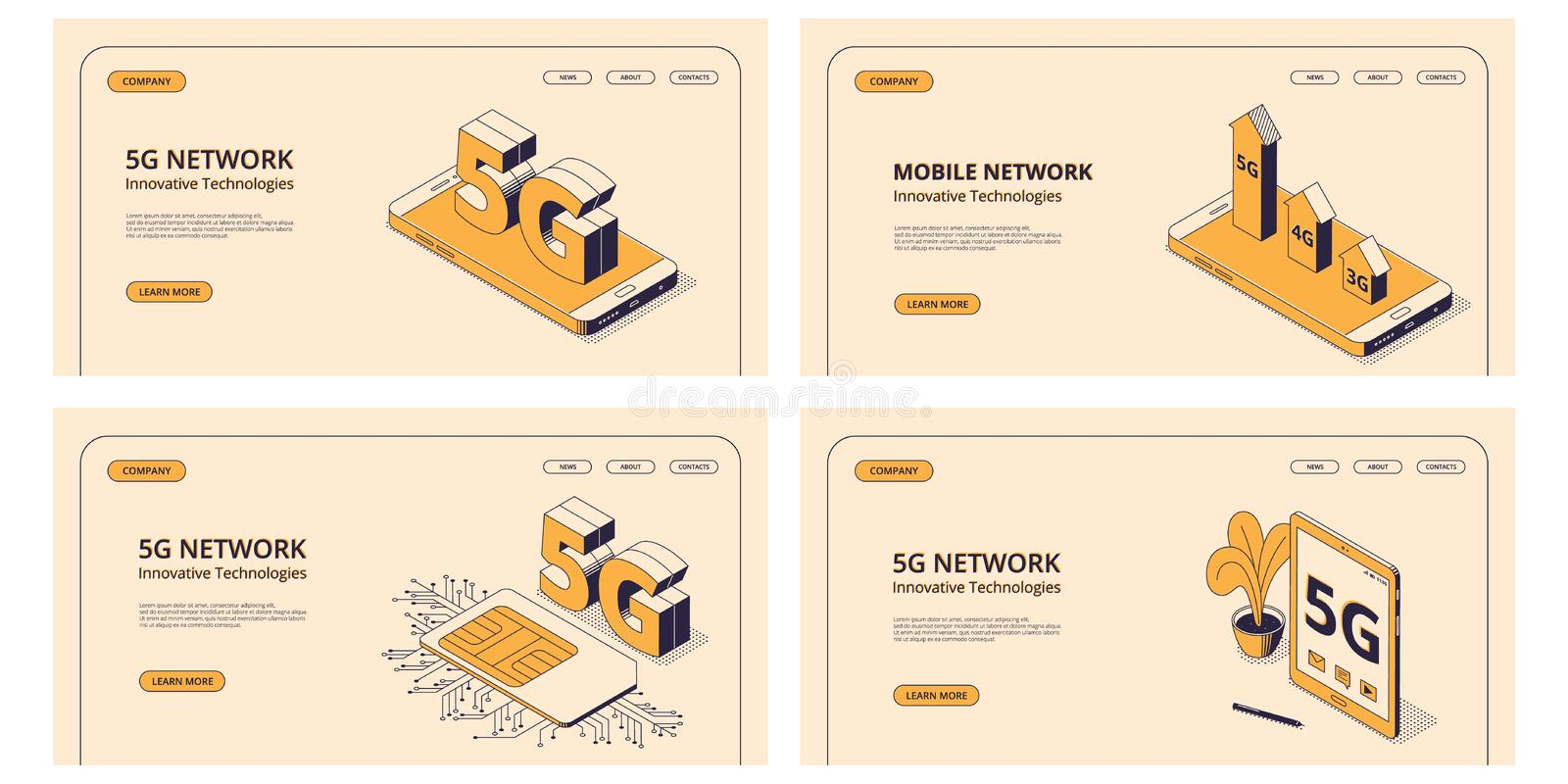 5G isometric illustrations set with digital devices with symbol of fifth generation of wireless internet connection. 5G isometric illustrations set with various royalty free illustration