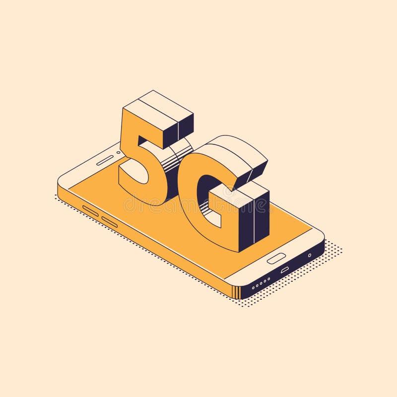 5G isometriskt begrepp - liggande mobiltelefon med det stora tecknet av trådlös internetuppkoppling för femte utveckling vektor illustrationer
