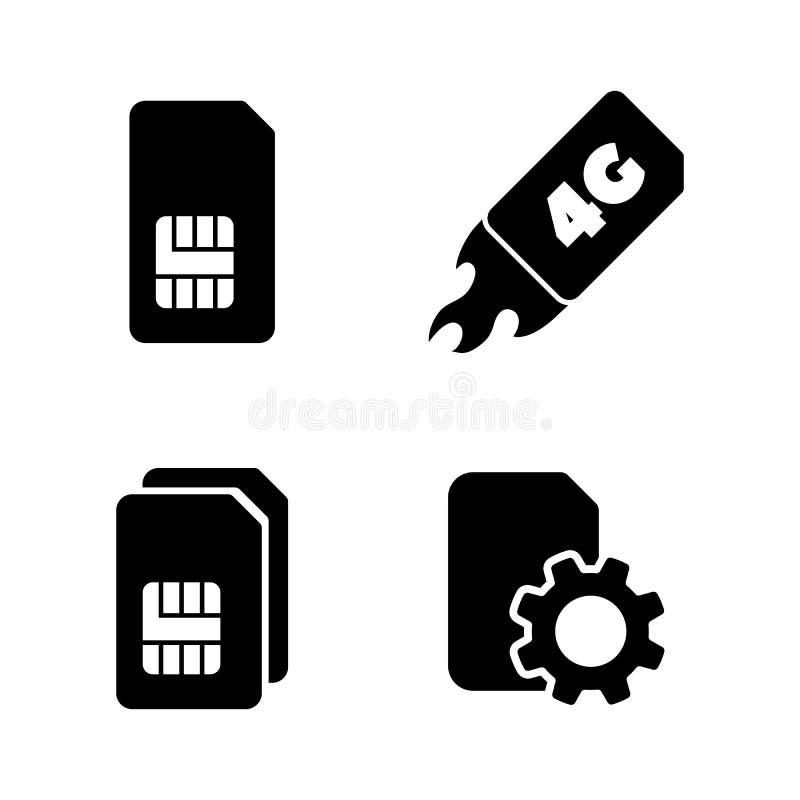 4G karta SIM Proste Powiązane Wektorowe ikony ilustracja wektor