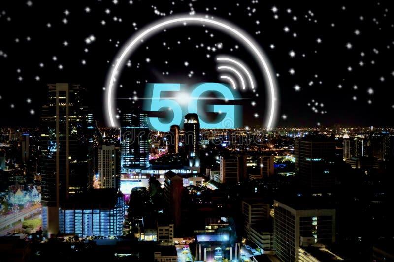5G knyter kontakt bakgrundsbegrepp för trådlöst system stock illustrationer