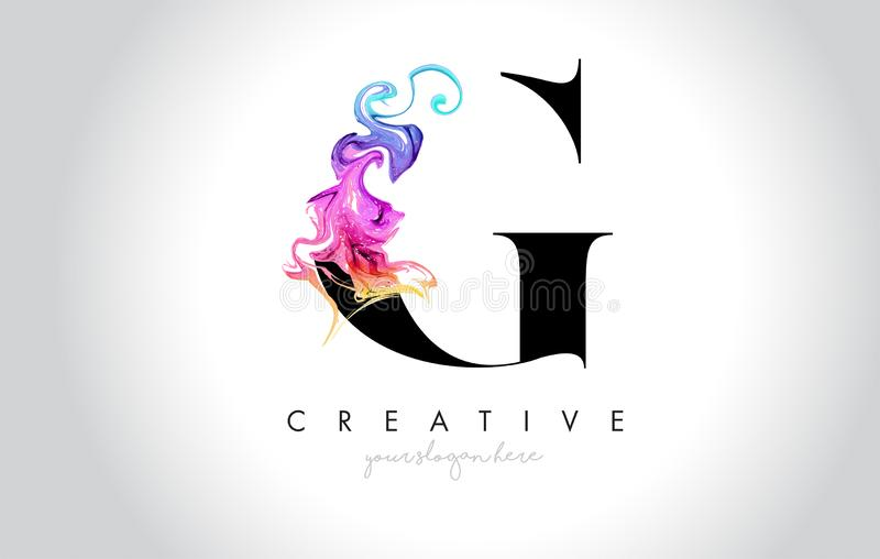 G Leter criativo vibrante Logo Design com tinta colorida Flo do fumo ilustração royalty free