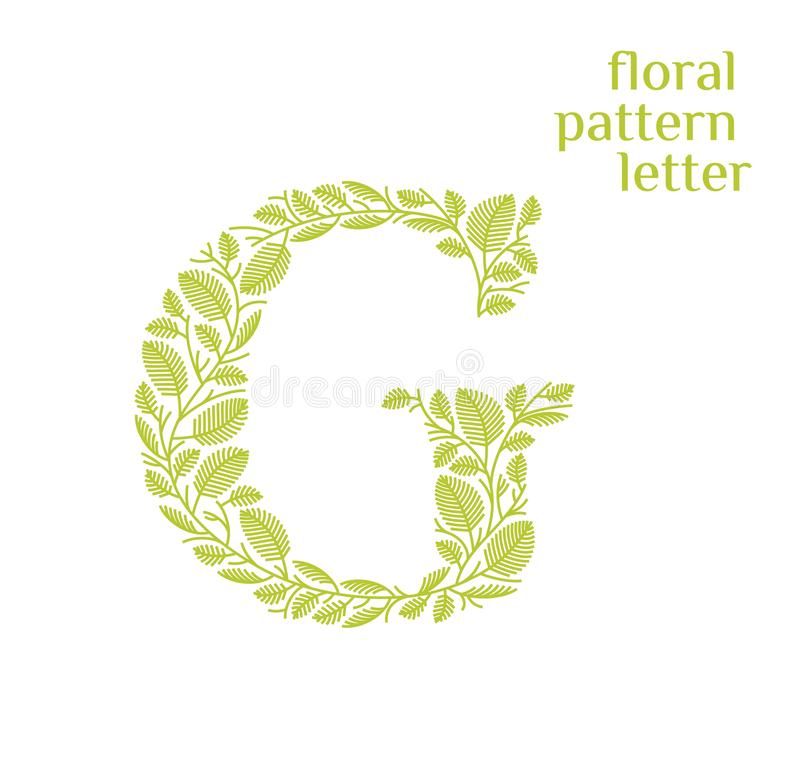 G letter eco logo isolated on white background. Organic bio logo from green grass leaves, plants for corporate identity. Of the company or brand on the letter G stock illustration